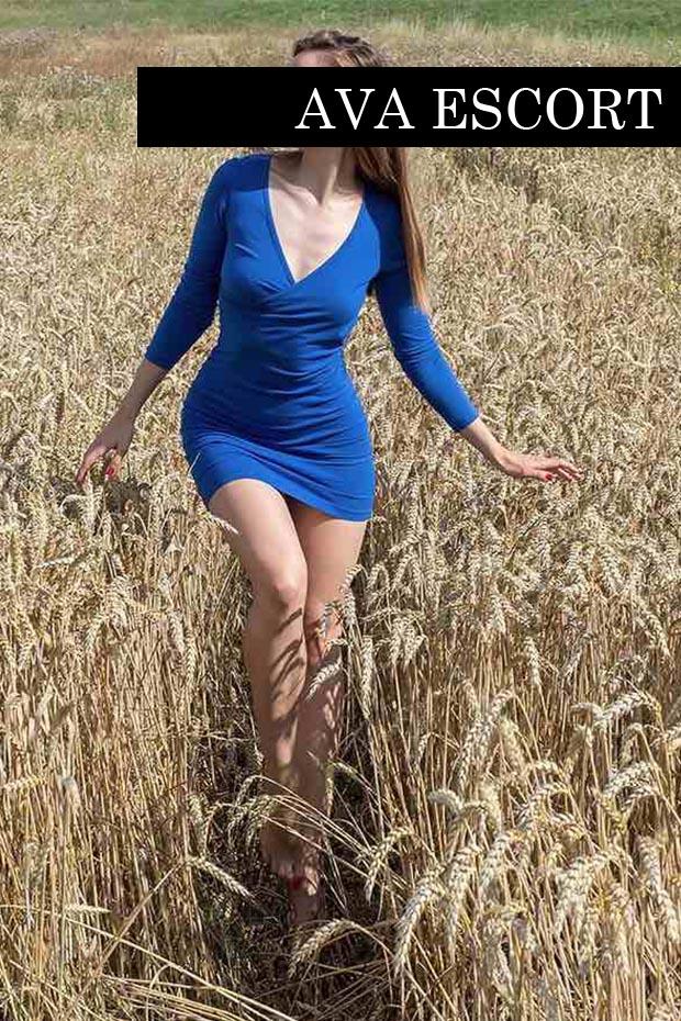 Escort Nürnberg Madeleine sexy Kleid blau